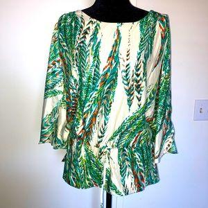 Eci Tropical Print Open Shoulder Blouse Large